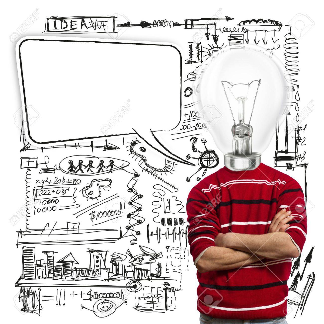 male in red and lamp-head with speech bubble, have got an idea - 10349309