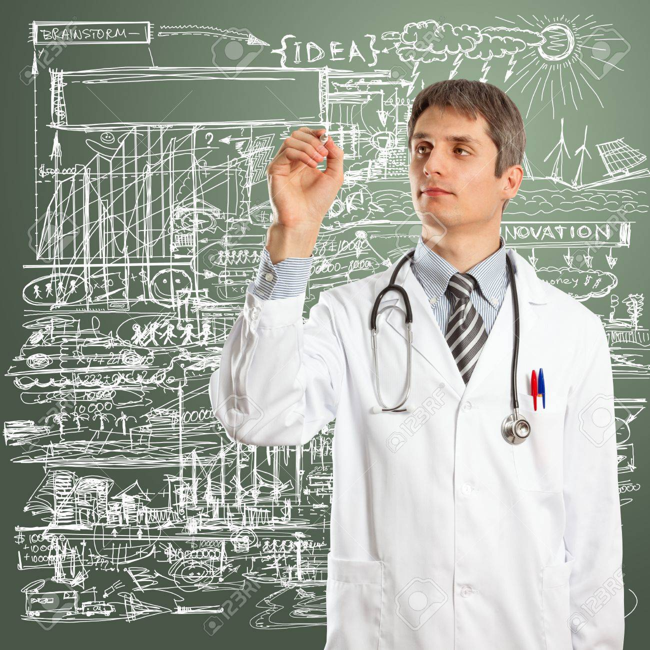 Doctor male writing something with marker on glass Stock Photo - 11835458