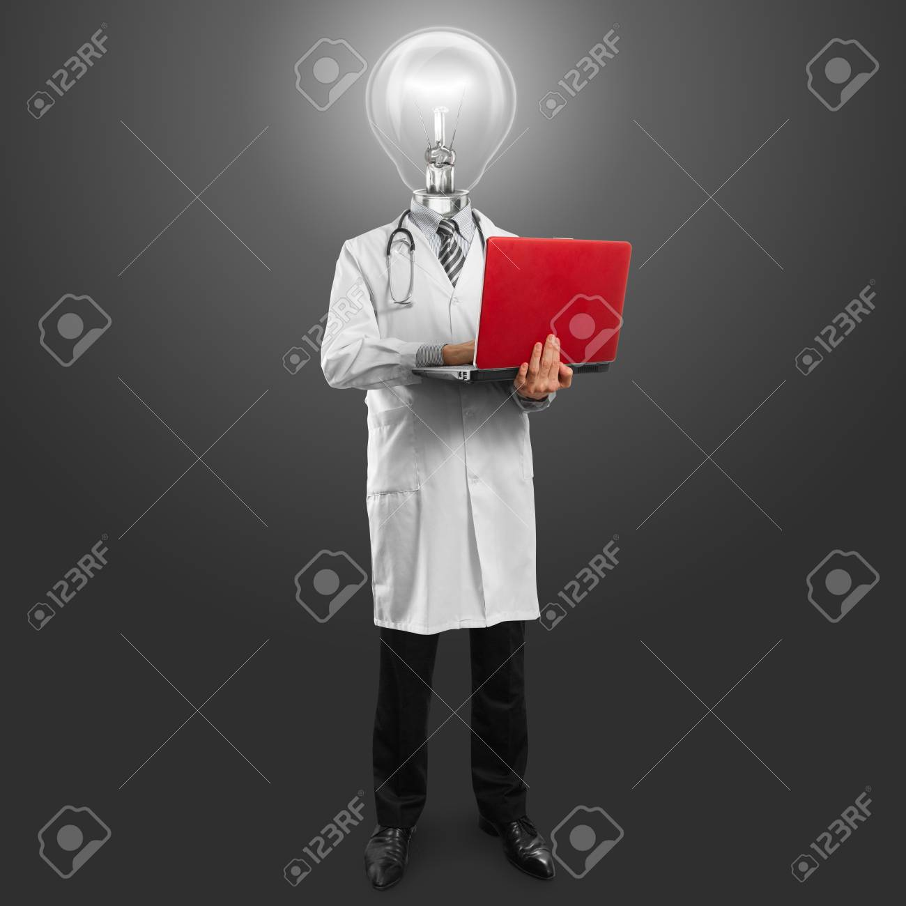 Idea concept, doctor man with lamp head, with laptop in his hands Stock Photo - 11835512