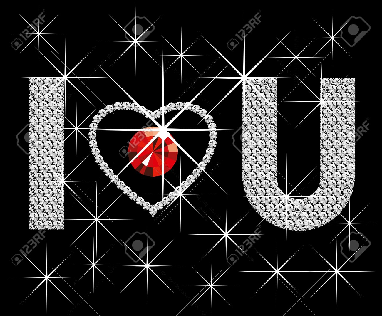Love Concept Vector Diamond Words I Love You With Heart Royalty