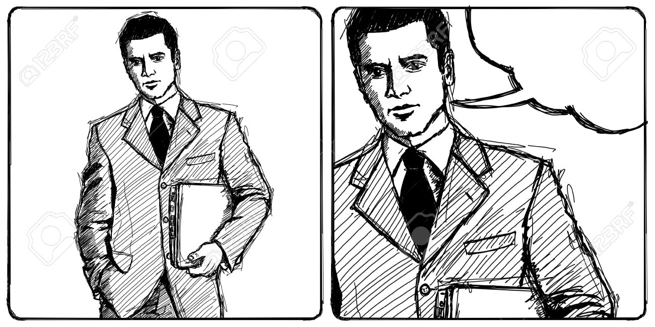 Sketch, comics style man businessman in suit with laptop in his hands, looking on camera Stock Photo - 14731523