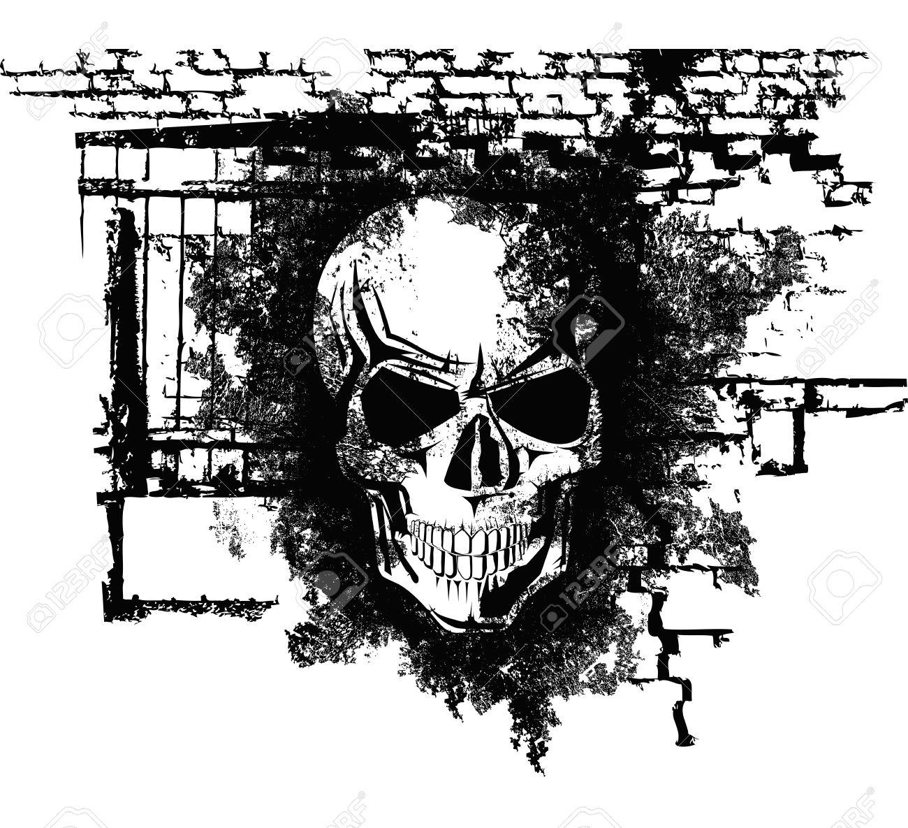 scary Halloween grunge skull with bricks Stock Vector - 15731887