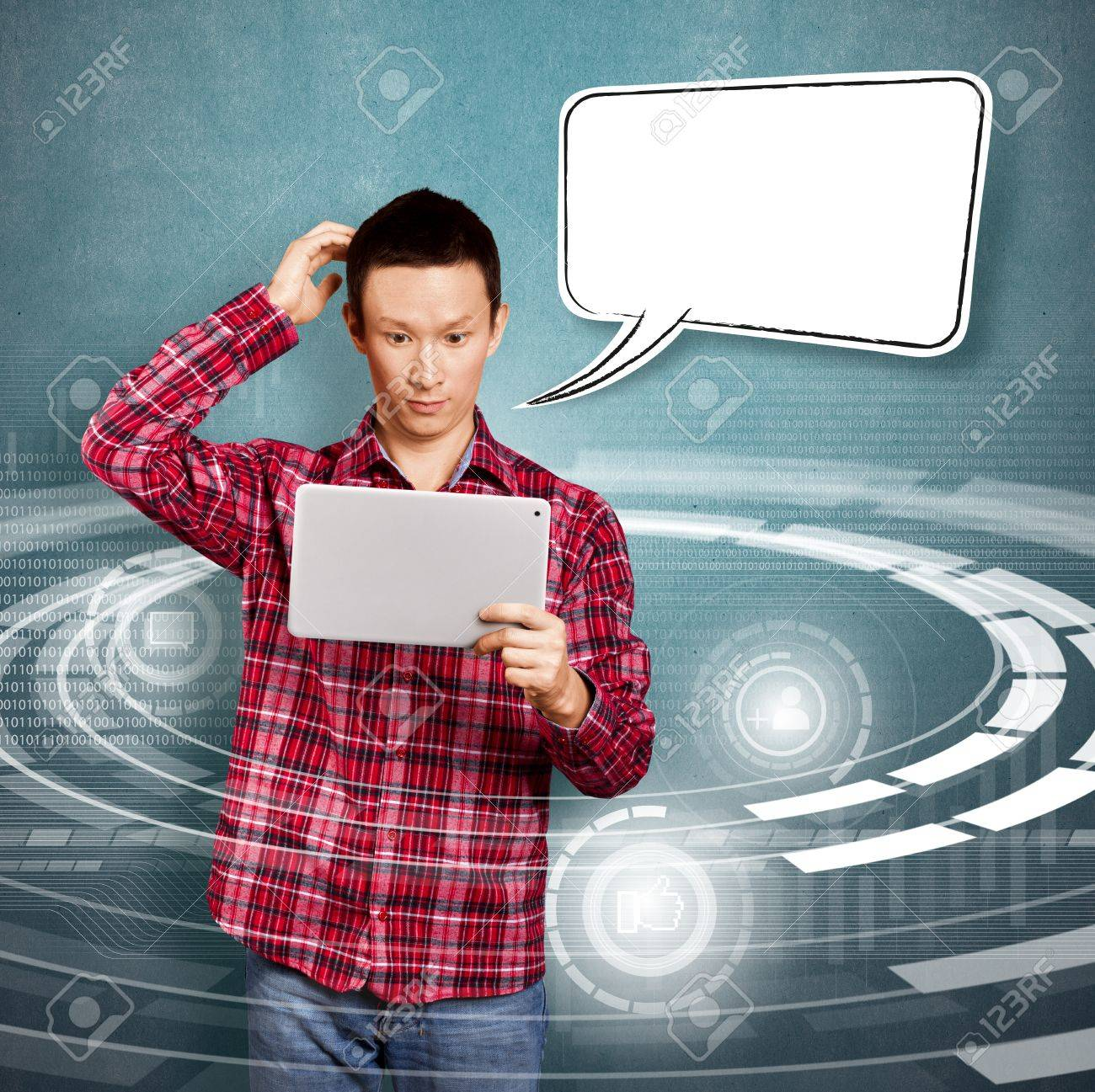 Asian man with speech bubble and touch pad in his hands embarrassed with news Stock Photo - 17237434