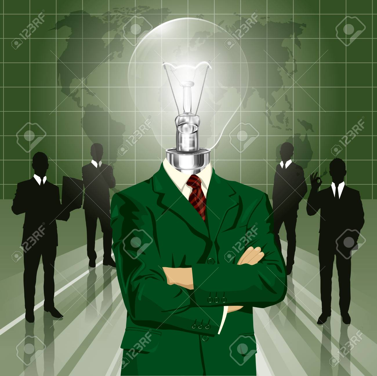 Vector Idea and concept, Lamp head business man in suit. All layers well organised and easy to edit Stock Vector - 22236701