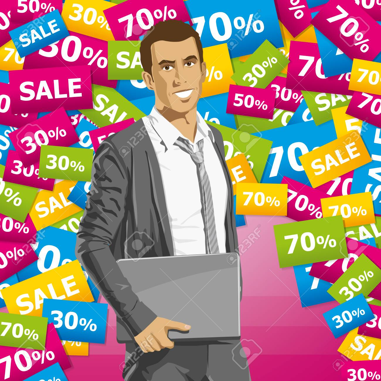 Sale concept. Vector business man in suit with folded hands. All layers well organized and easy to edit Stock Vector - 22621205