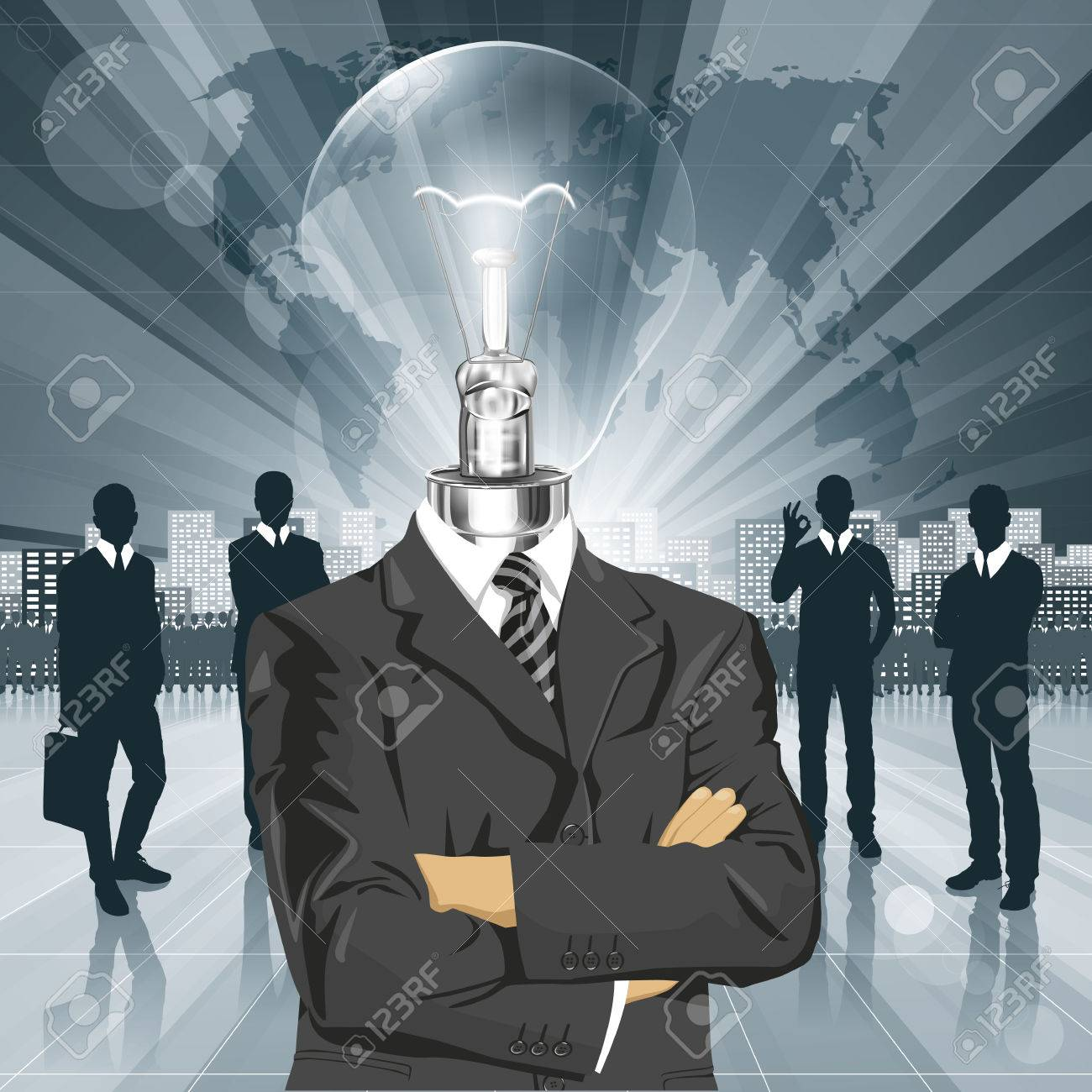 Vector Idea and concept, Lamp head business man in suit. All layers well organized and easy to edit Stock Vector - 23176703
