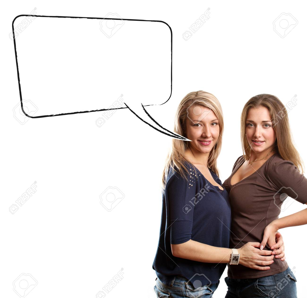 Gay Couple Two Women Looking On Camera With Speech Bubble Stock Photo 25026126