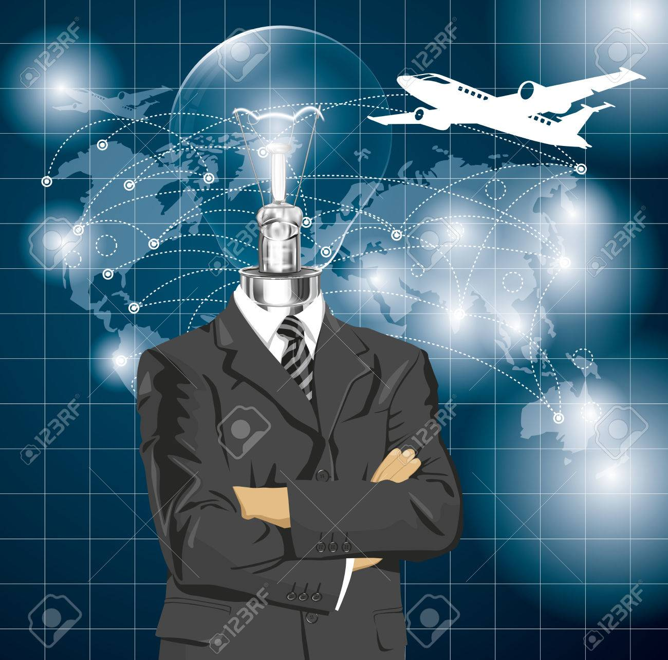 Vector Idea and travel concept, Lamp head business man in suit. All layers well organized and easy to edit Stock Vector - 26074235