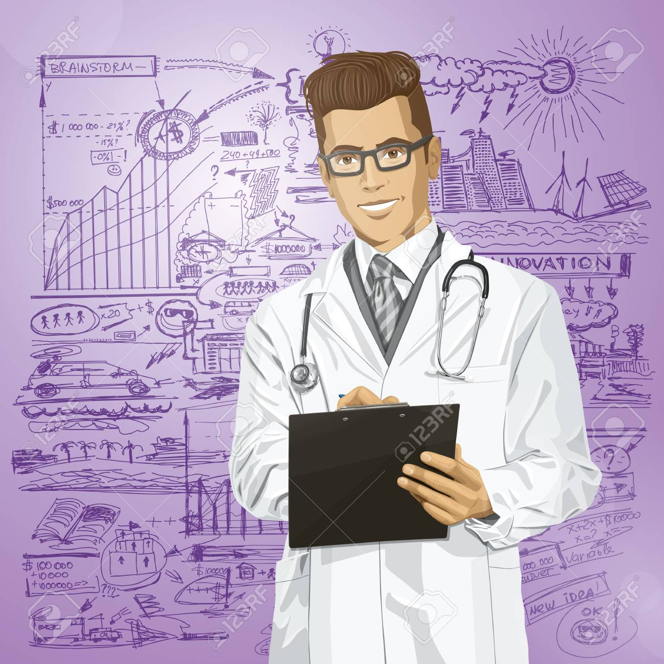 Vector hipster doctor man writing something with marker on clipboard Stock Vector - 25999762
