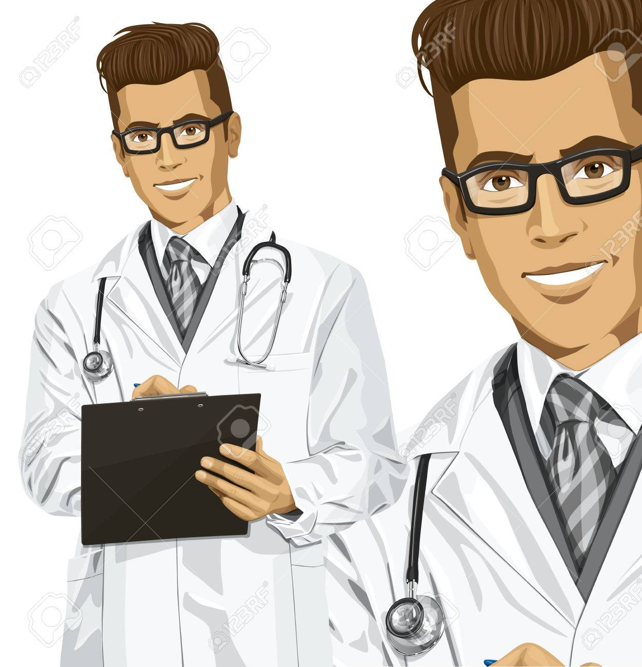 Vector hipster doctor man writing something with marker on clipboard Stock Vector - 26537832