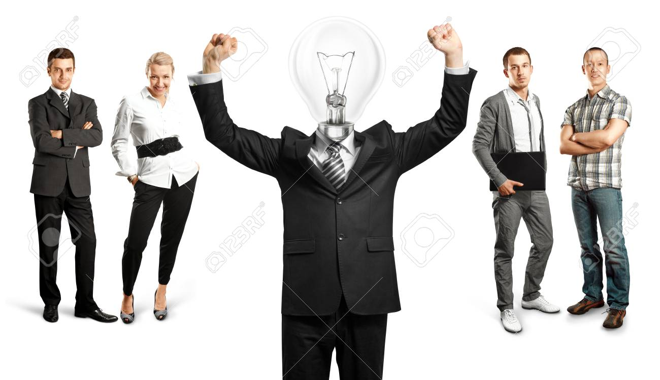 Idea concept. Lamp Head and Business team Stock Photo - 27718332