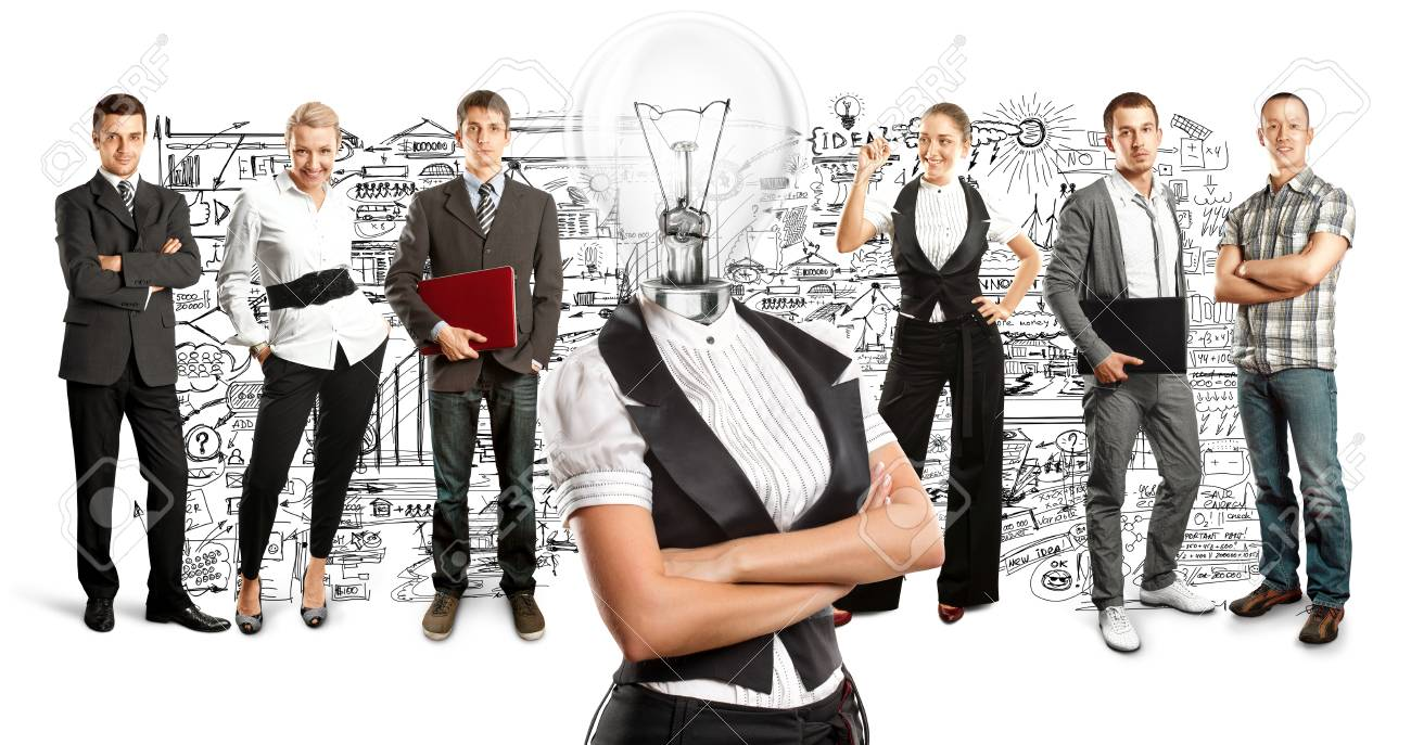 Idea concept. Lamp Head and Business team Stock Photo - 27718360