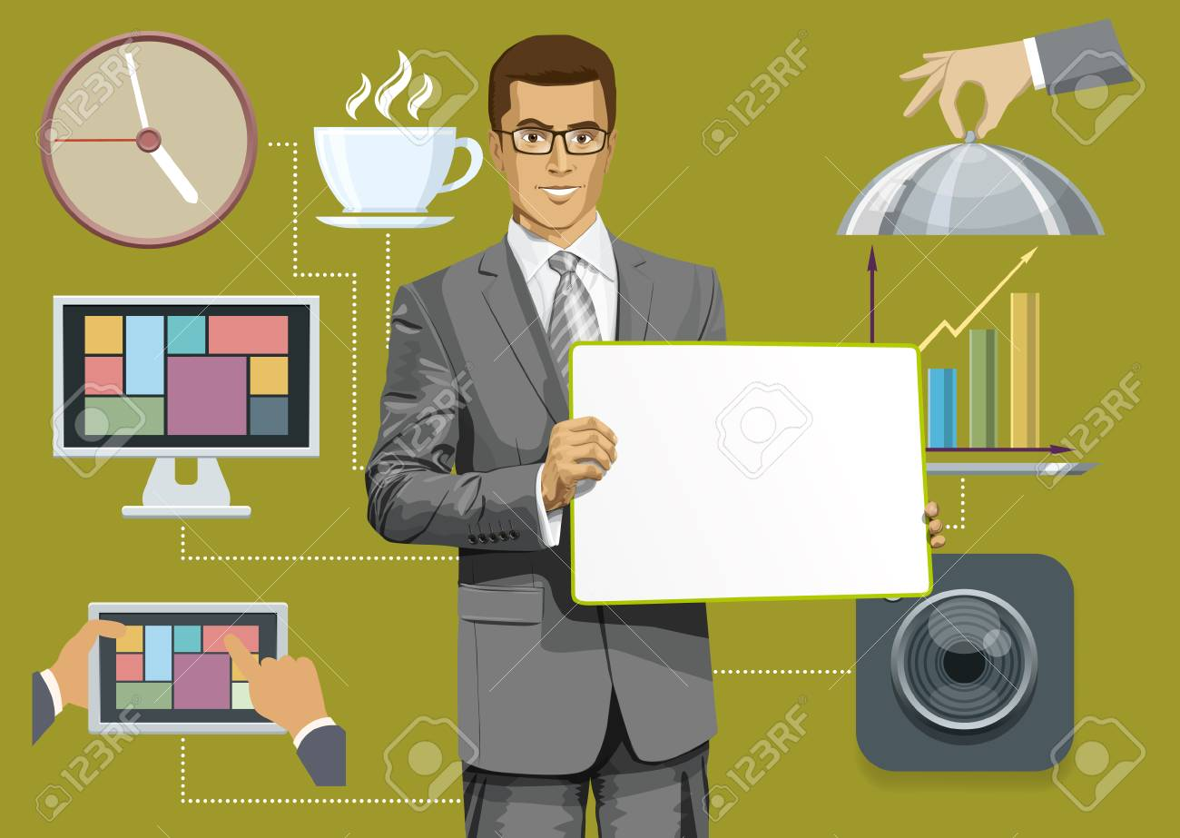 Vector icons set with flat design and people Stock Vector - 30831126