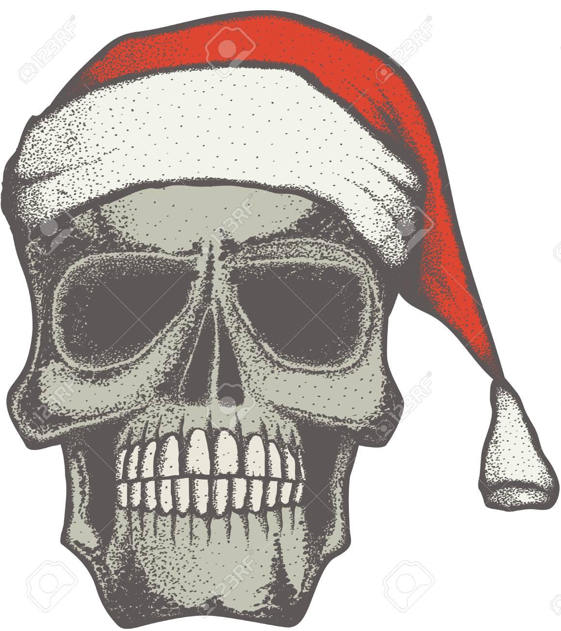 Vector Weihnachten Schädel-Illustration. Hand Gezeichnete Schädel ...