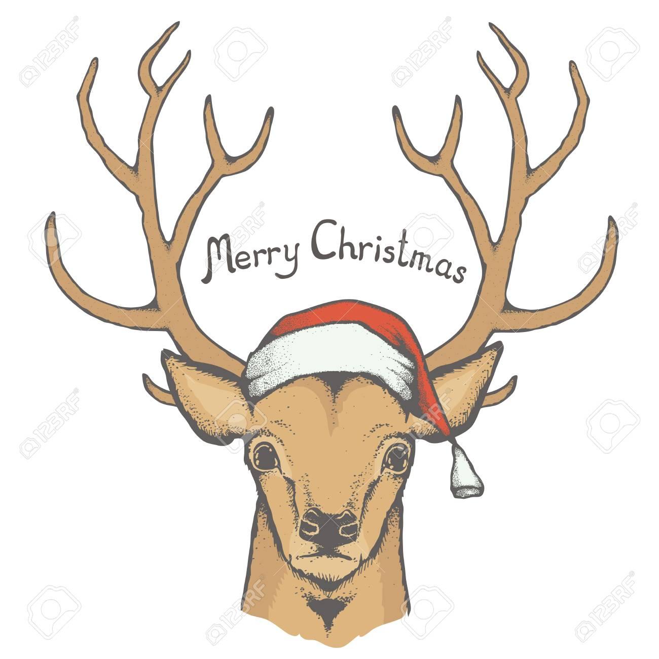 Christmas Deer Vector Illustration Reindeer Head With Horn And Santa Hat Inscription Merry