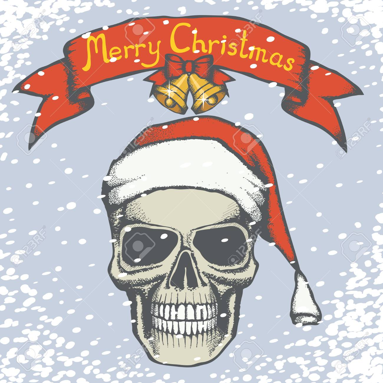 Vector Weihnachten Schädel-Illustration. Hand Gezeichnete Schädel In ...