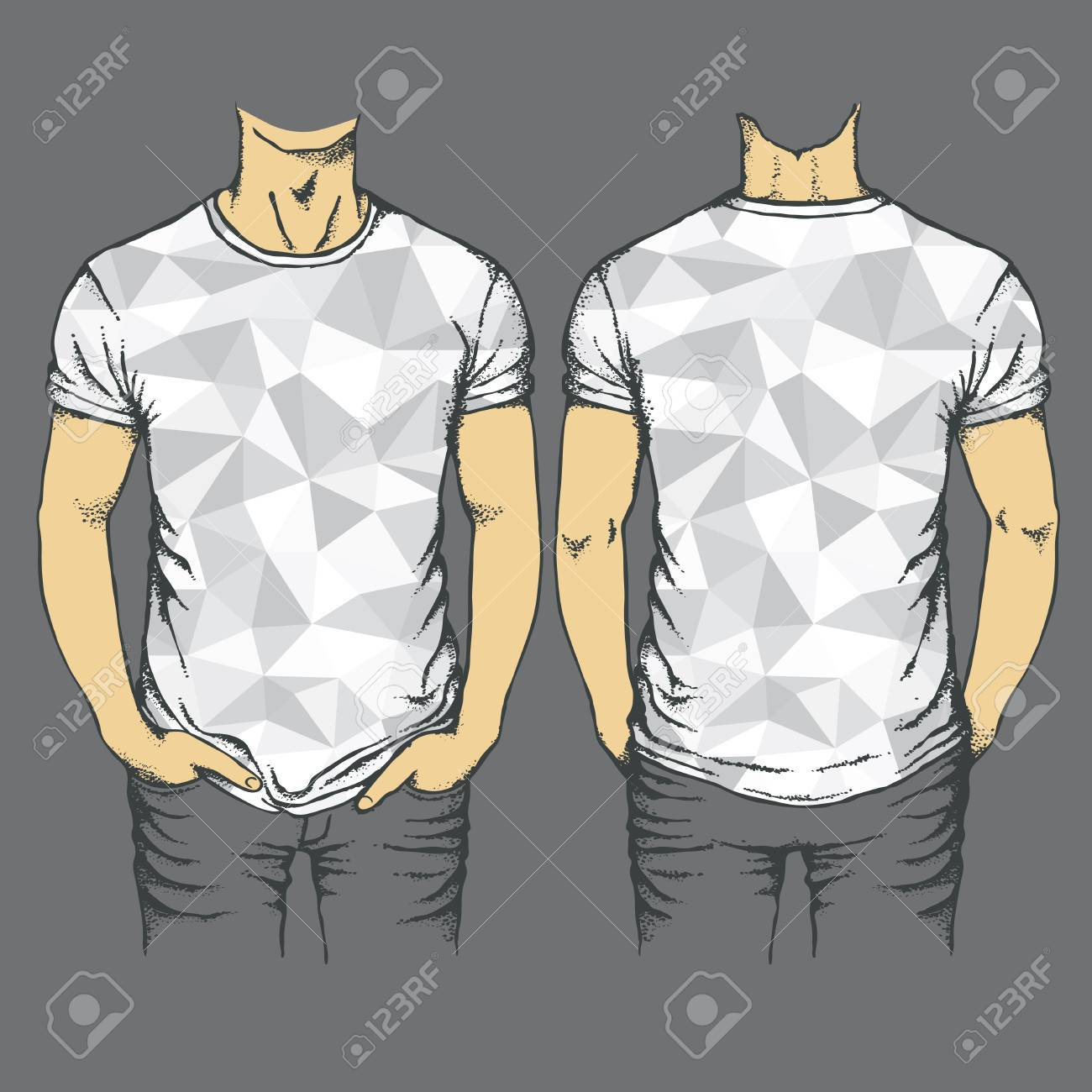 Vector Gray T-shirt Template. Top And Back Side Of Empty Gray ...