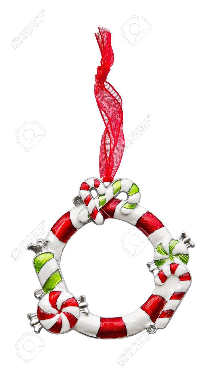 Christmas ornament frame - Christmas Ornament Frame With Red Ribbon Stock Photo 15706745