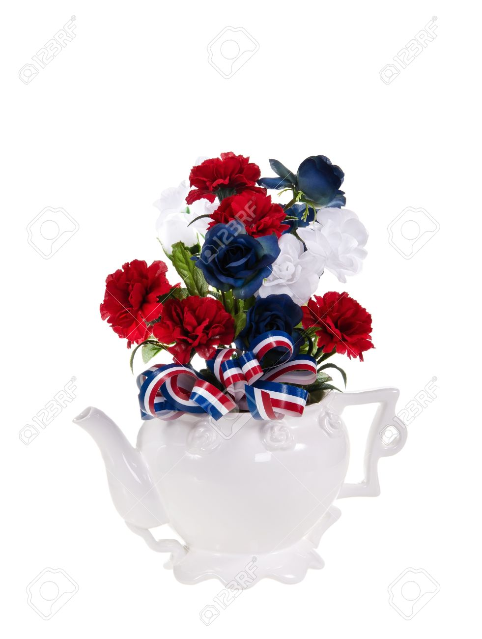 Patriotic red white and blue flower arrangement over white patriotic red white and blue flower arrangement over white background stock photo izmirmasajfo