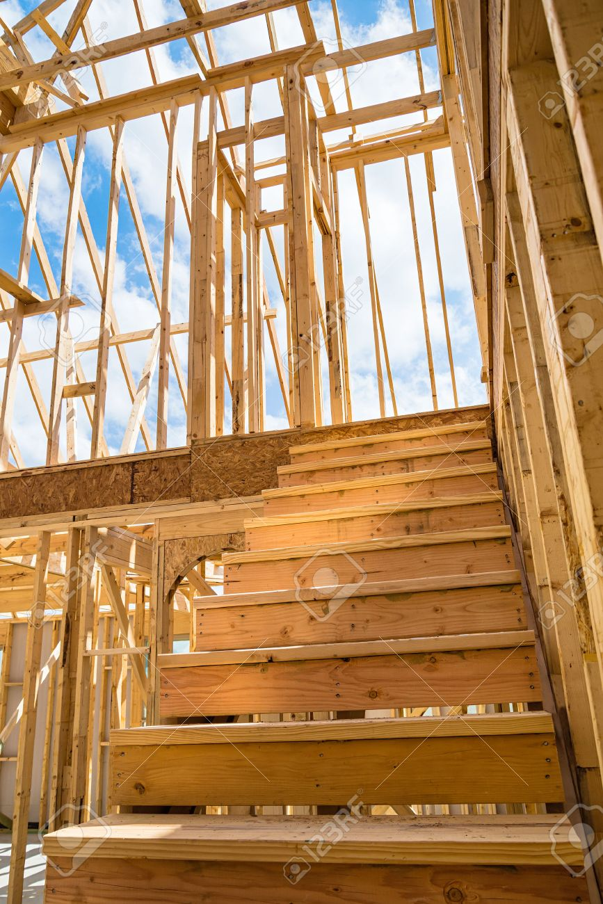 stock photo unfinished residential construction house framing closeup of interior stairs