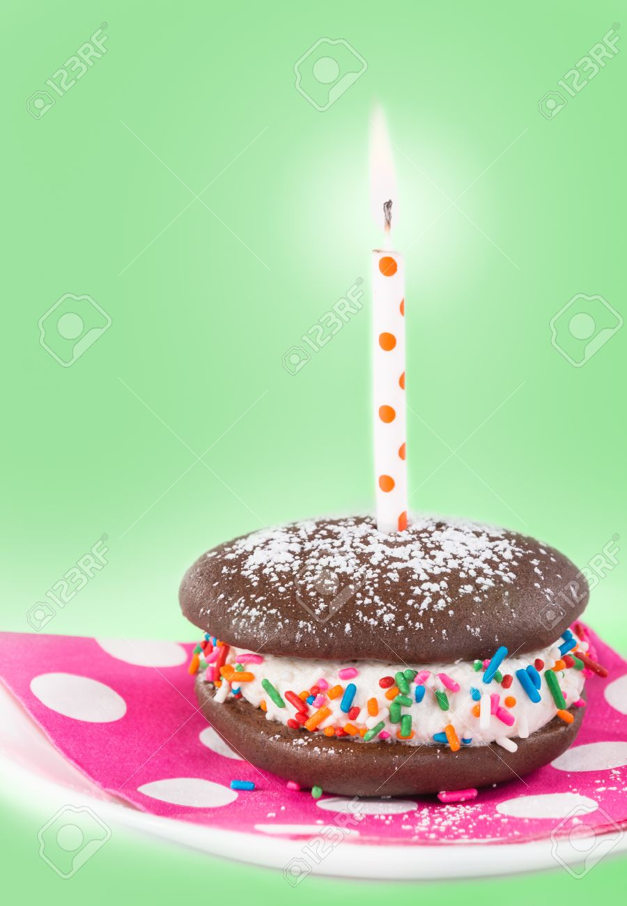 Birthday Whoopie Pie With A Candle Decorated Sprinkles And Sugar Light Green Background