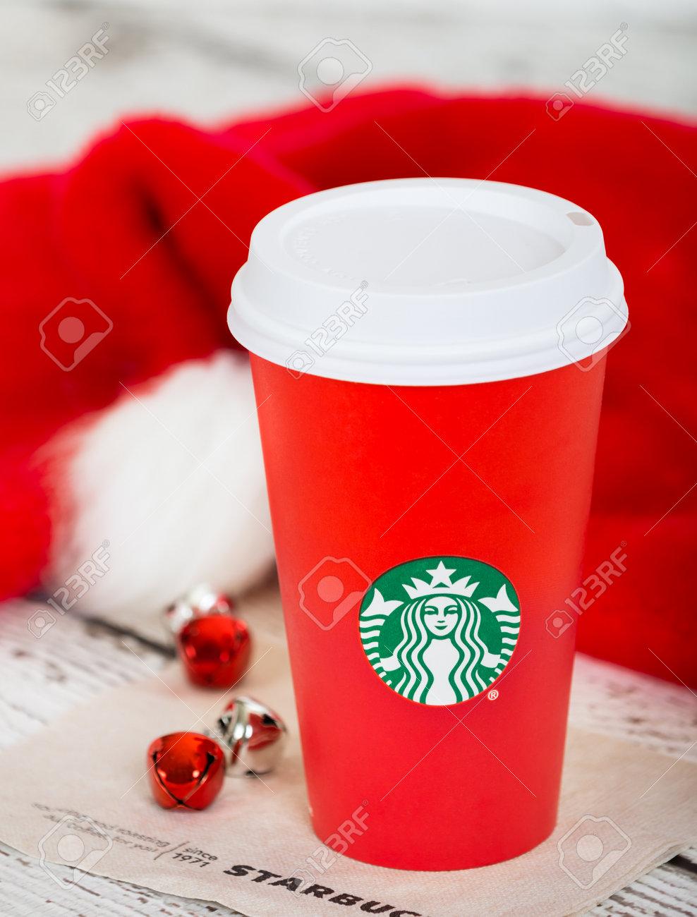 DALLAS, TX - NOVEMBER 10, 2015: A cup of Starbucks popular holiday