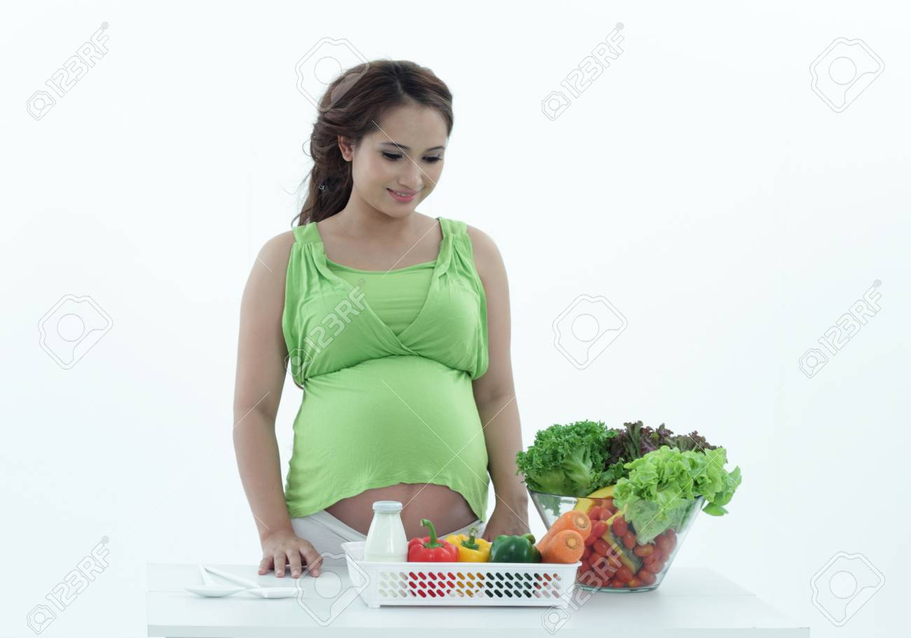 Pregnant women are the salad bowl. Stock Photo - 20418004