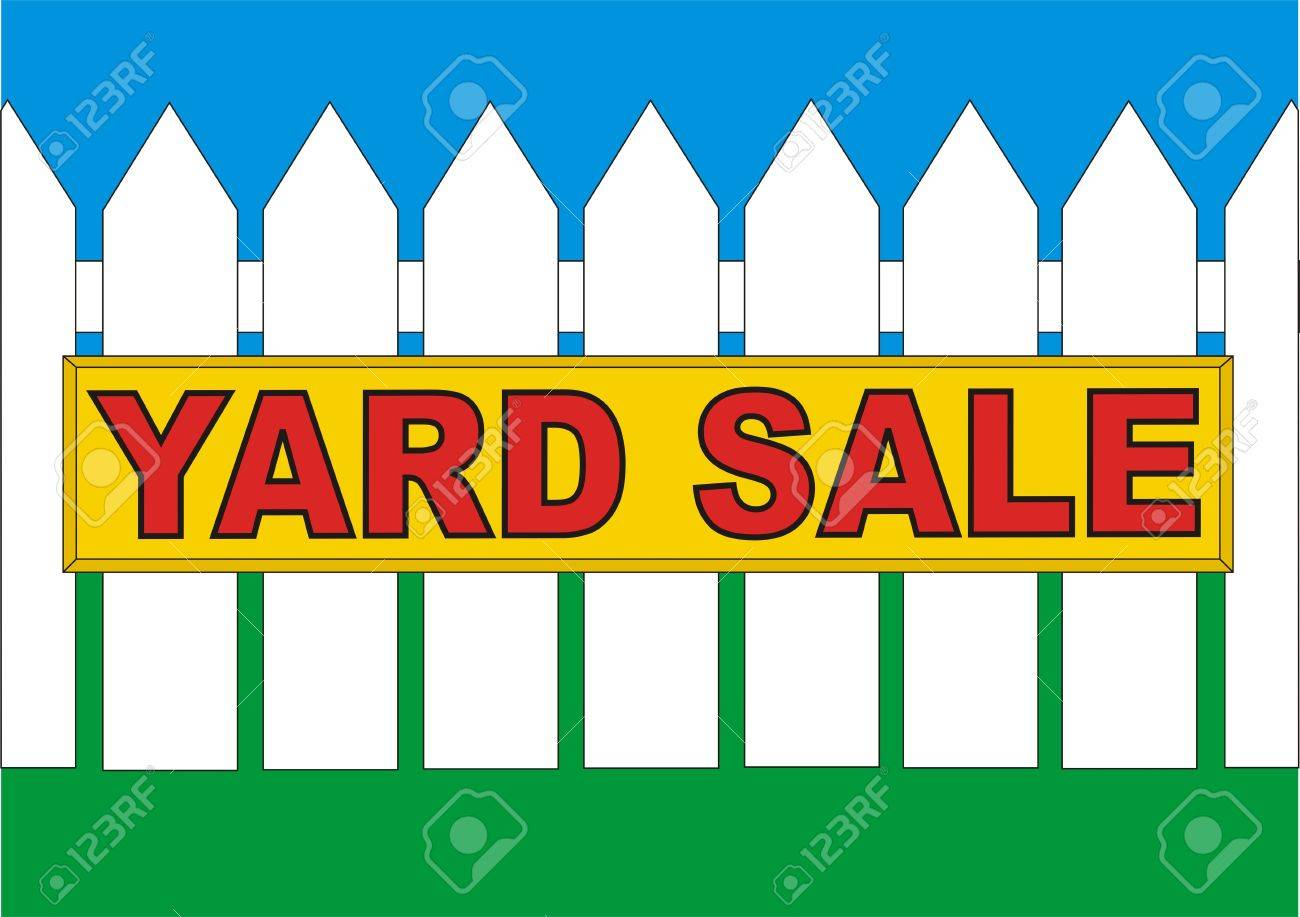 yard sale sign on the fence in the backyard of the house stock