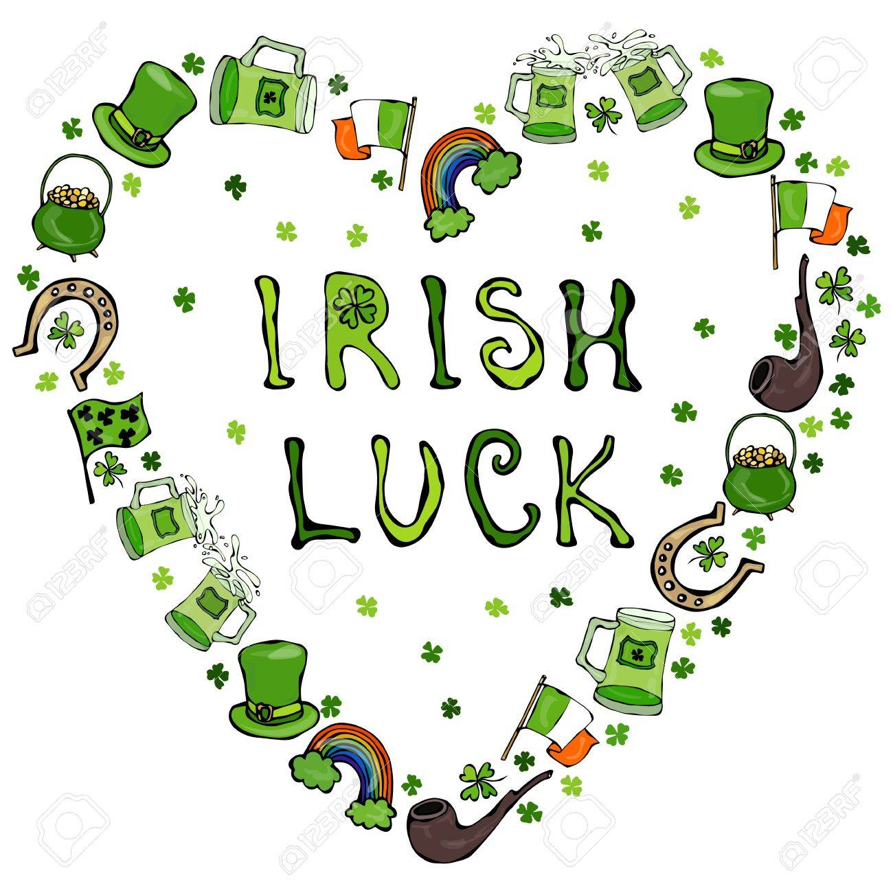 Collection Of Irish Symbols Irish Luck Lettering Heart Shape