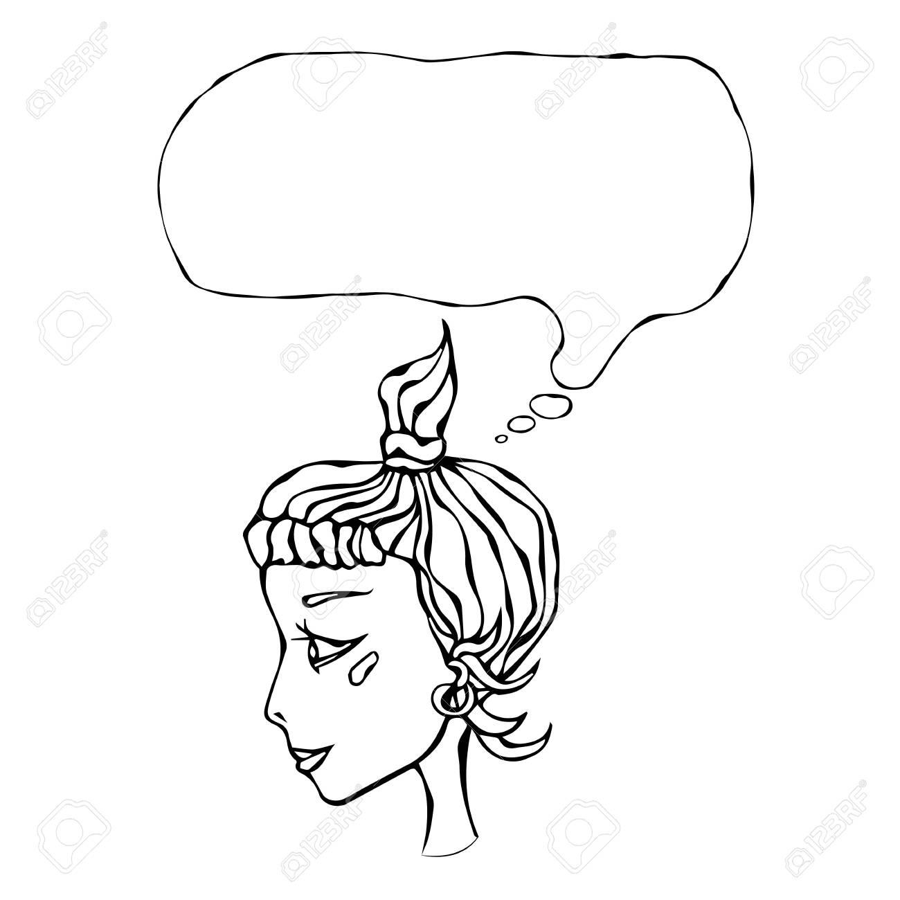 Tête De Visage De Fille Mignonne De Dessin Animé Hipster De Profil De Profil Avec Queue De Cheval Sourire Blush Pensée Bulle Ci Dessus Illustration