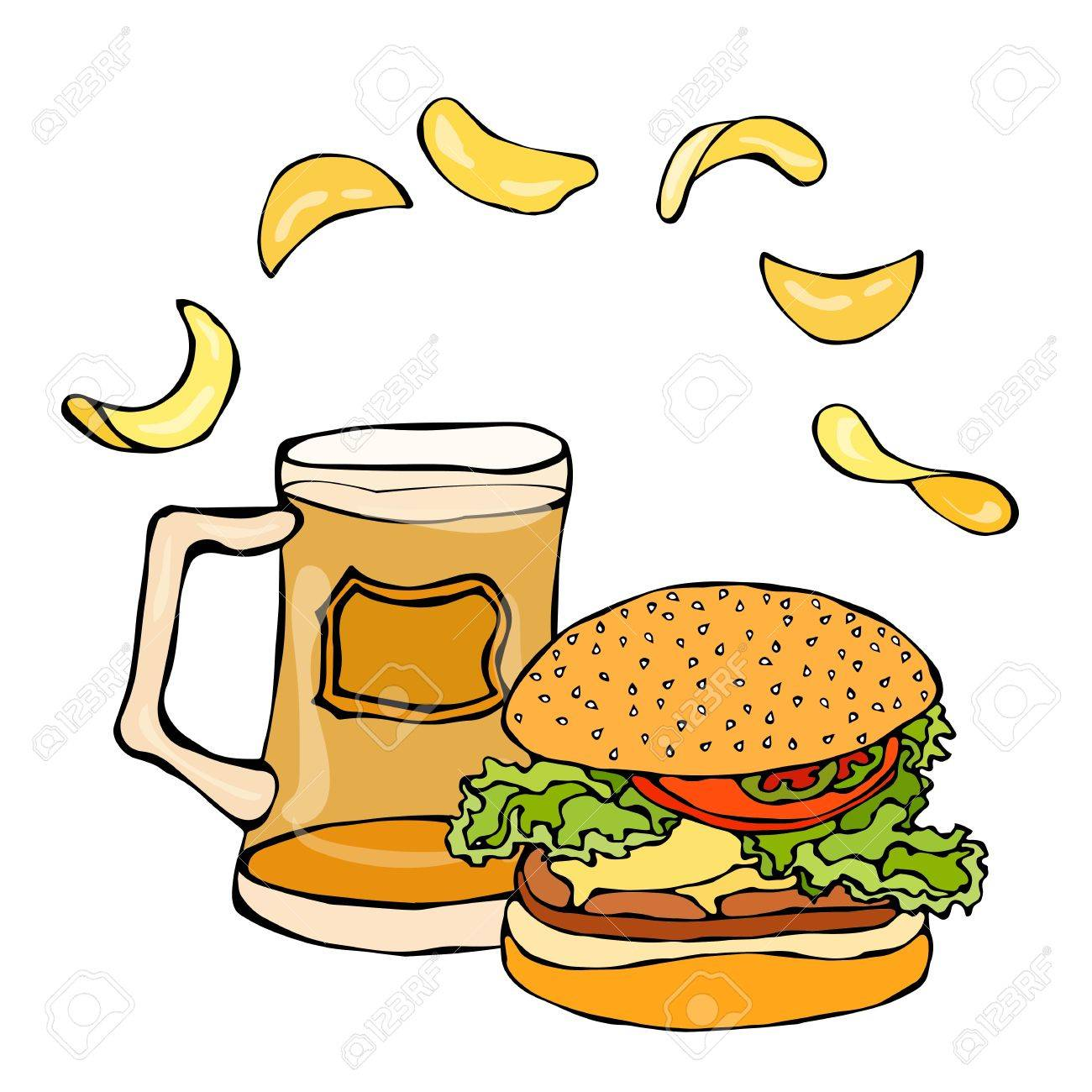 Big Hamburger Or Cheeseburger Beer Mug Or Pint And Potato Chips Royalty Free Cliparts Vectors And Stock Illustration Image 79905965