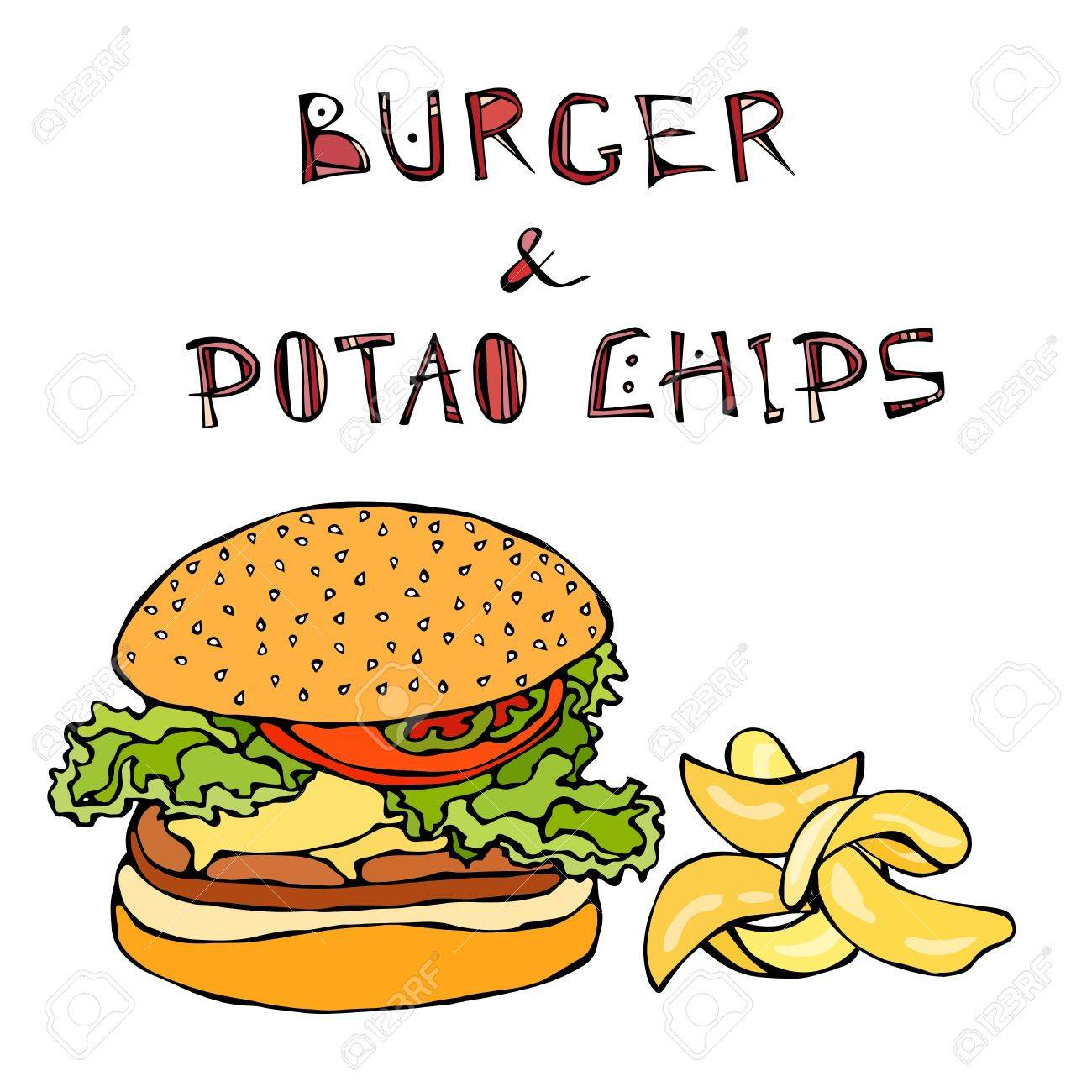 Big Hamburger Or Cheeseburger Beer Mug Or Pint And Potato Wedges Royalty Free Cliparts Vectors And Stock Illustration Image 79929183