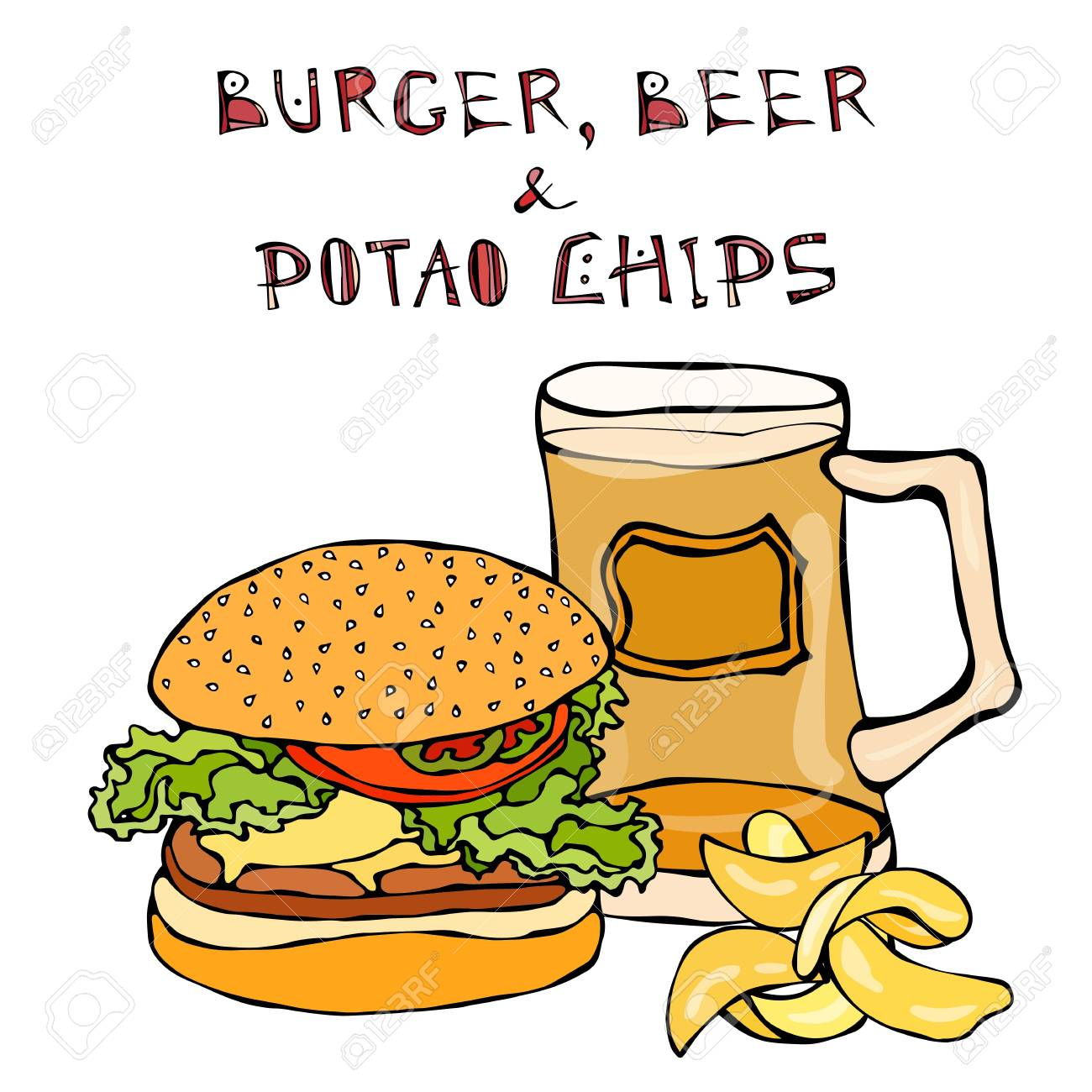 Big Hamburger Or Cheeseburger Beer Mug Or Pint And Potato Chips Royalty Free Cliparts Vectors And Stock Illustration Image 80098647