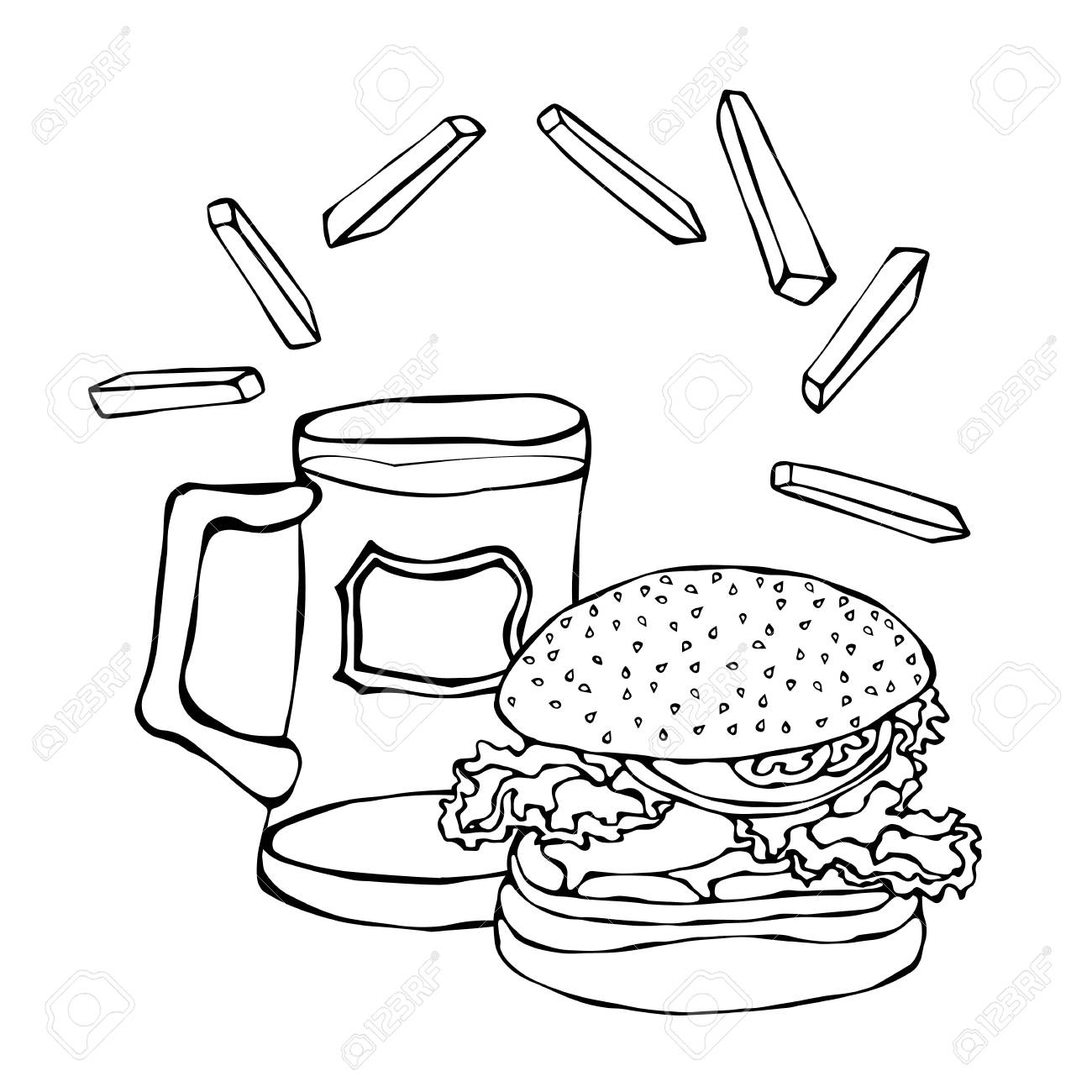Big Hamburger Or Cheeseburger Beer Mug Or Pint And Fried Potato Royalty Free Cliparts Vectors And Stock Illustration Image 80763293