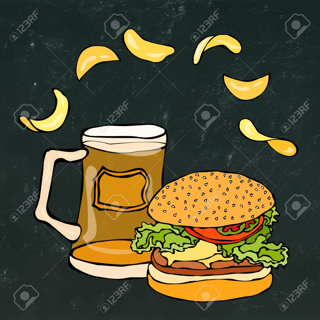 Big Hamburger Or Cheeseburger Beer Mug Or Pint And Potato Chips Royalty Free Cliparts Vectors And Stock Illustration Image 80763297