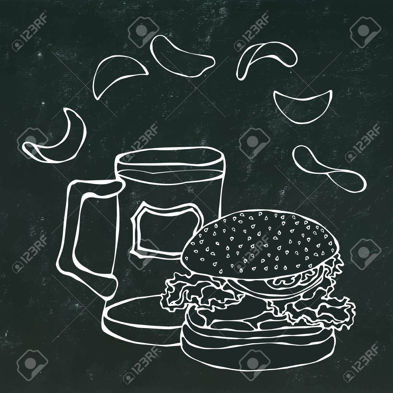 Big Hamburger Or Cheeseburger Beer Mug Or Pint And Potato Chips Royalty Free Cliparts Vectors And Stock Illustration Image 80763302