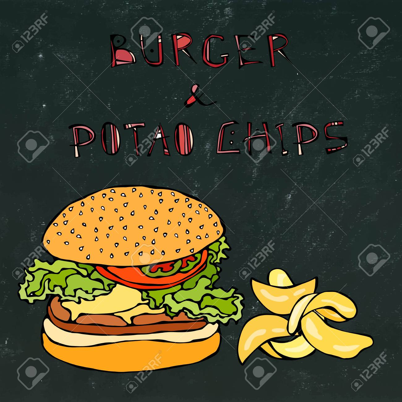 Big Hamburger Or Cheeseburger Beer Mug Or Pint And Potato Chips Royalty Free Cliparts Vectors And Stock Illustration Image 80763303