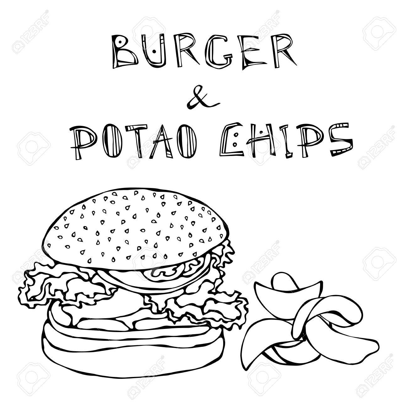 Big Hamburger Or Cheeseburger Beer Mug Or Pint And Potato Chips Royalty Free Cliparts Vectors And Stock Illustration Image 80763259
