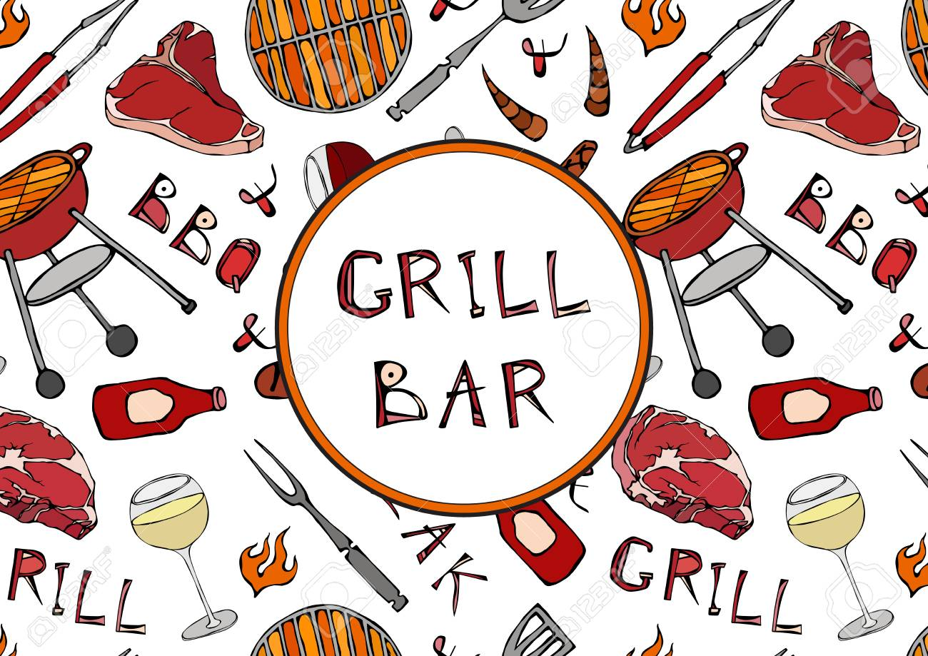 grill bar seamless pattern of summer bbq grill party glass