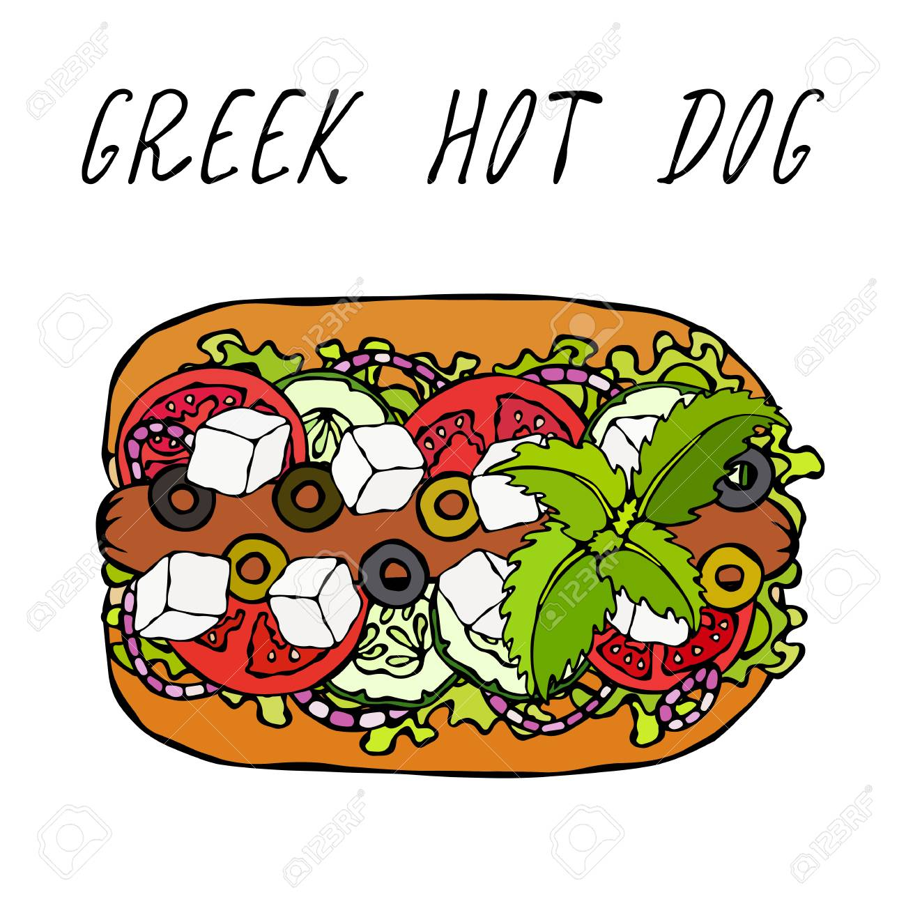 Greek Hot Dog. Feta Cheese, Basil. Olives, Lettuce Salad, Tomato, Cucumber. Fast Food Collection. Hand Drawn High Quality Vector Illustration. Doodle Style - 115030375