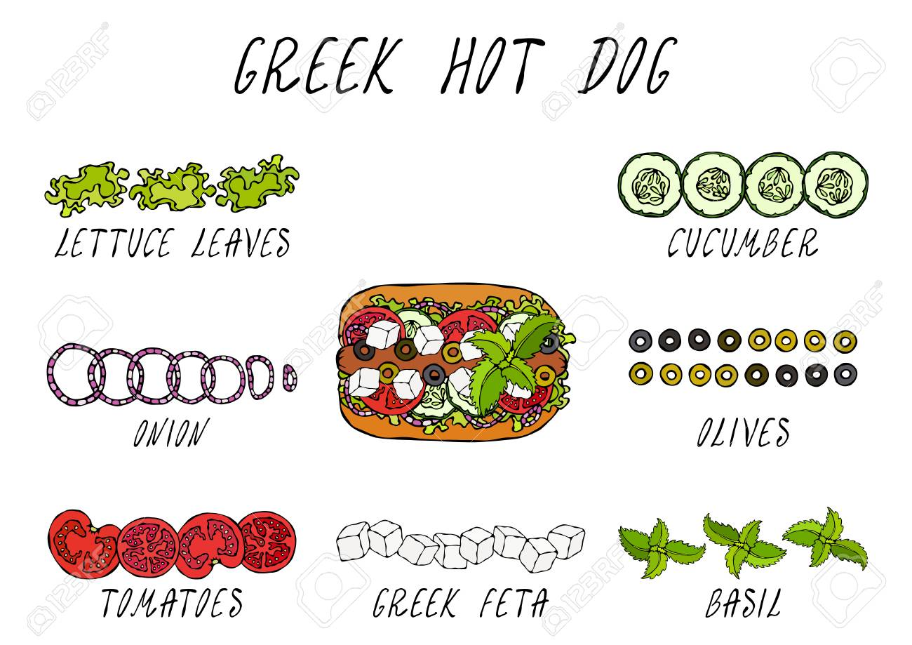 Greek Hot Dog Ingredients Constructor. Feta Cheese, Basil. Olives, Lettuce Salad, Tomato, Cucumber. Fast Food Collection. Hand Drawn High Quality Vector Illustration. Doodle Style - 115030378