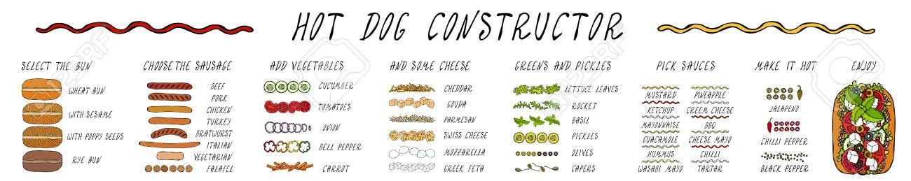 Hot Dog Ingredients Constructor. Sausage, Bun, Vegetables, Cheese, Salad Leaves, Sauce, Pepper. Fast Food Collection. Realistic Hand Drawn High Quality Vector Illustration. Doodle Style - 115030380
