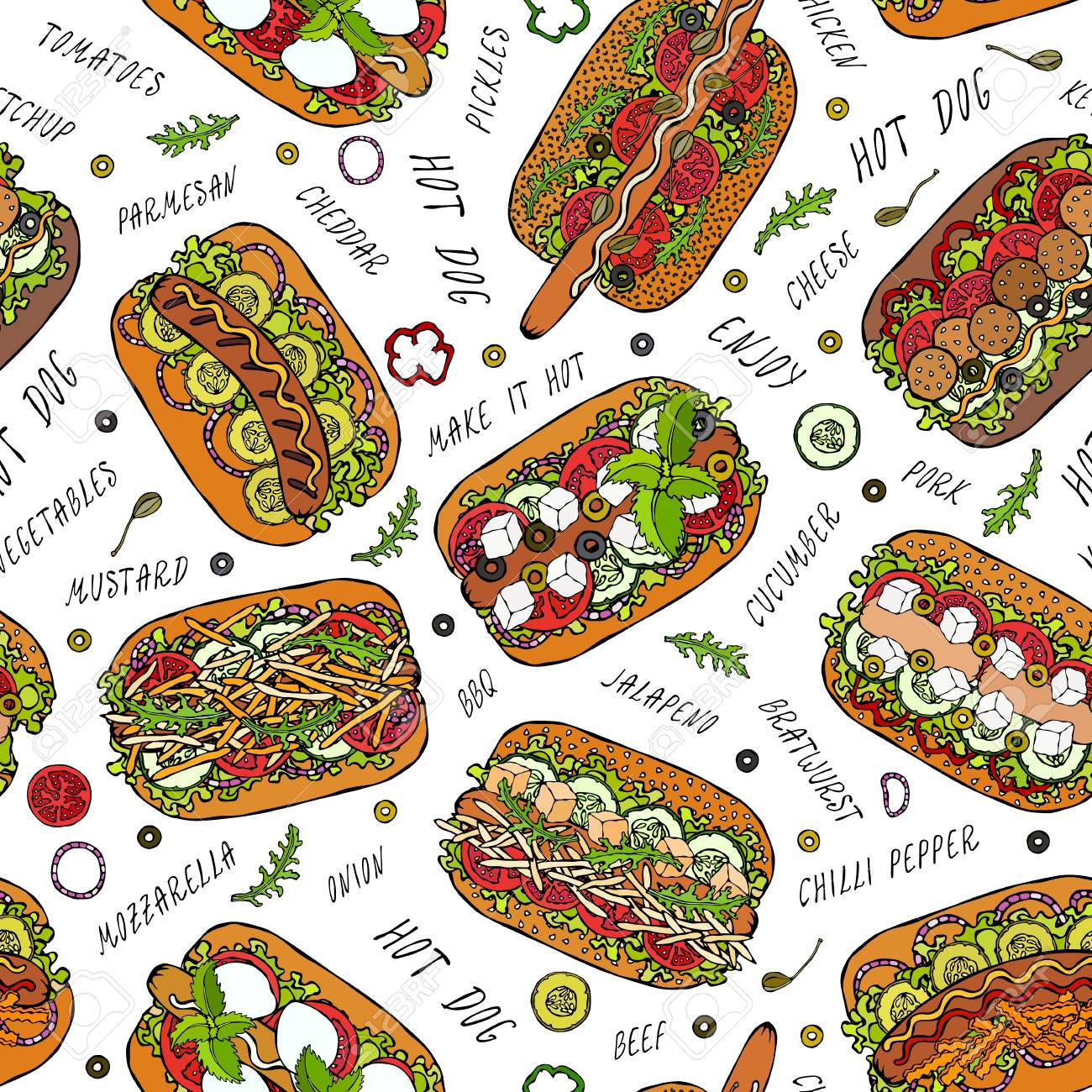 Hot Dog and Lettering Seamless Endless Pattern. Many Ingredients. Restaurant or Cafe Menu Background. Street Fast Food Collection. Realistic Hand Drawn High Quality Vector Illustration. Doodle Style - 114980944
