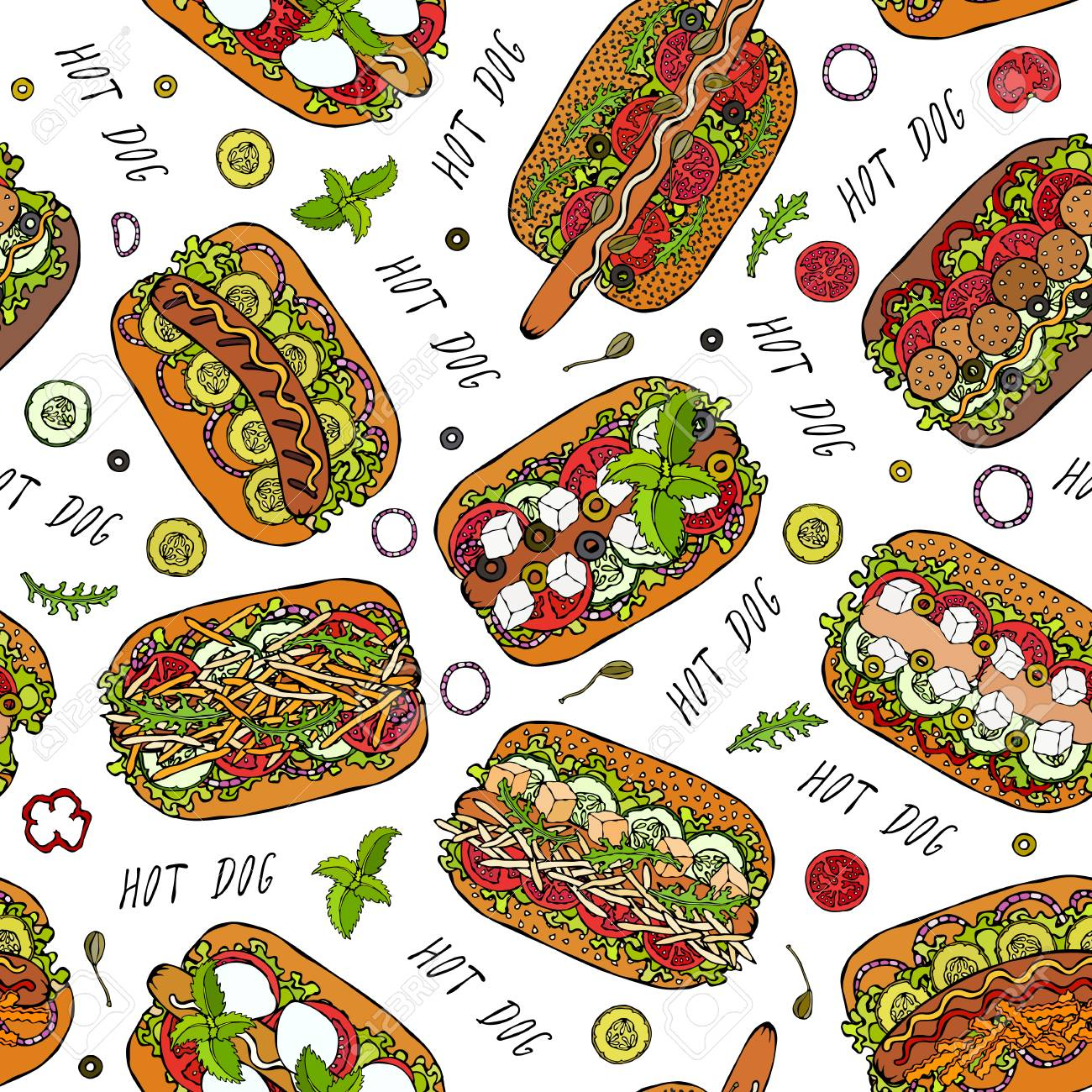 Hot Dog and Lettering Seamless Endless Pattern. Many Ingredients. Restaurant or Cafe Menu Background. Street Fast Food Collection. Realistic Hand Drawn High Quality Vector Illustration. Doodle Style - 114966646