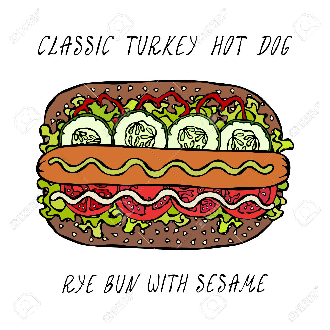 Classic Turkey Hot Dog on a Sesame Bun with Lettuce Salad, Tomato, Cucumber, Mustard, Ketchup. Street Fast Food Collection. Realistic Hand Drawn High Quality Vector Illustration. Doodle Style - 114966647