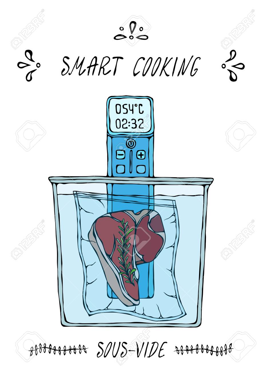What is Sous-Vide. Slow Cooking Technology. Perfect Tender Juicy Meat Steak. Vacuumizer Food Sealer. Chief Cuisine Collection. EPS10 Vector. Hand Drawn Doodle Style Realistic Illustration - 126959097