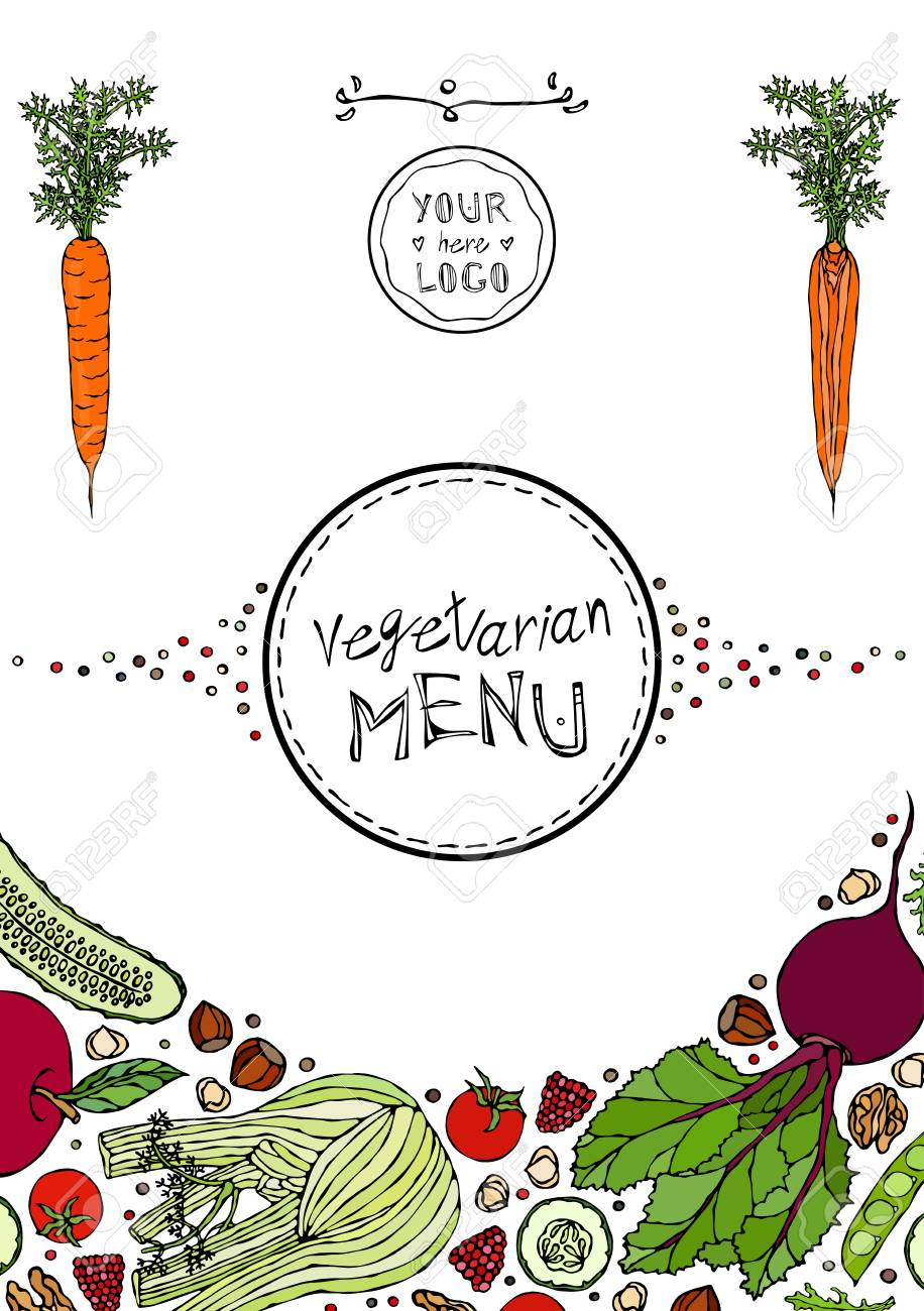 Restaurant Cafe Vegan Menu Cover Template of Vegetarian Healthy Food. EPS10 Vector. Hand Drawn Doodle Style Realistic Illustration - 126910579