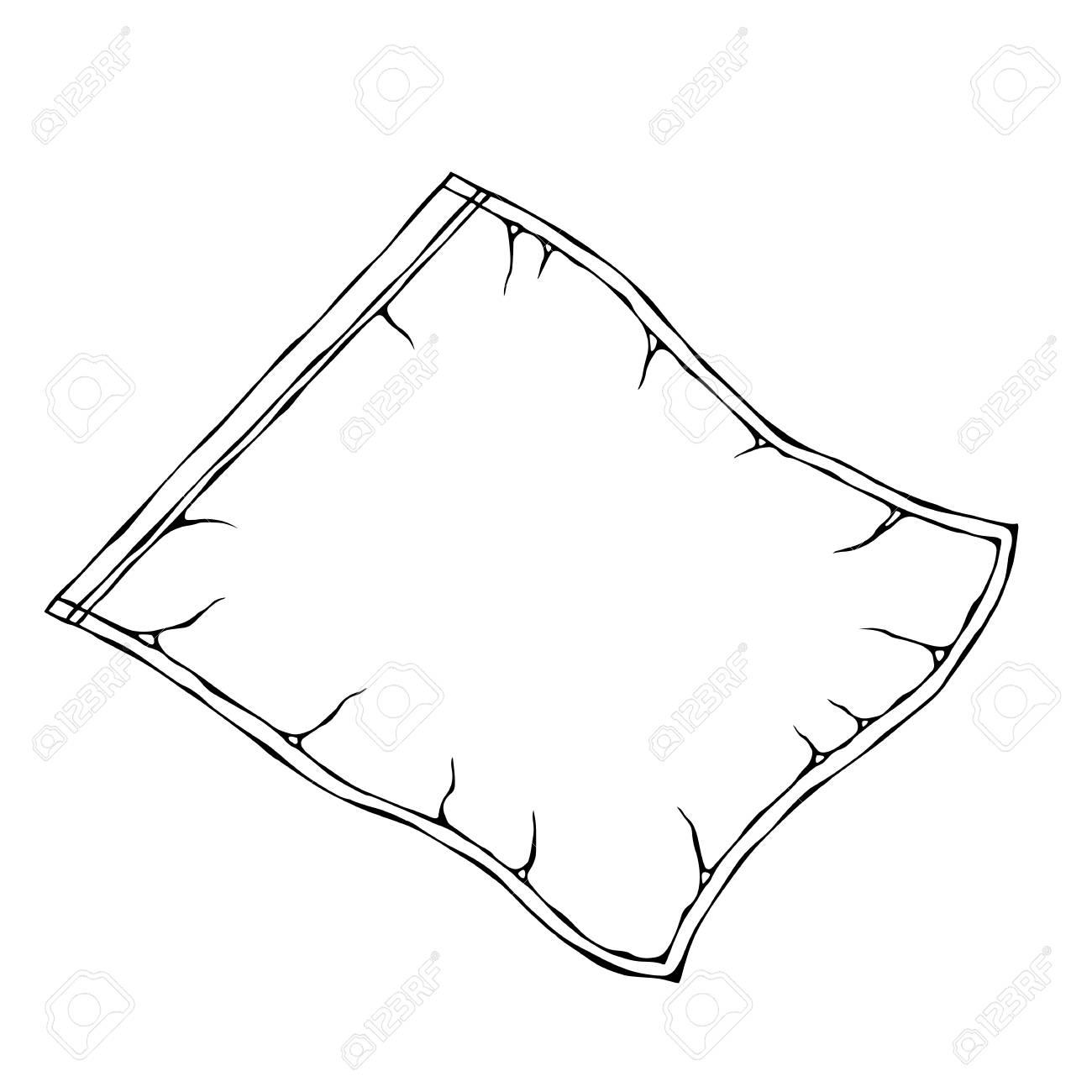 Vacuum Plastic Bag. EPS10 Vector. Hand Drawn Doodle Style Realistic Illustration - 126910589