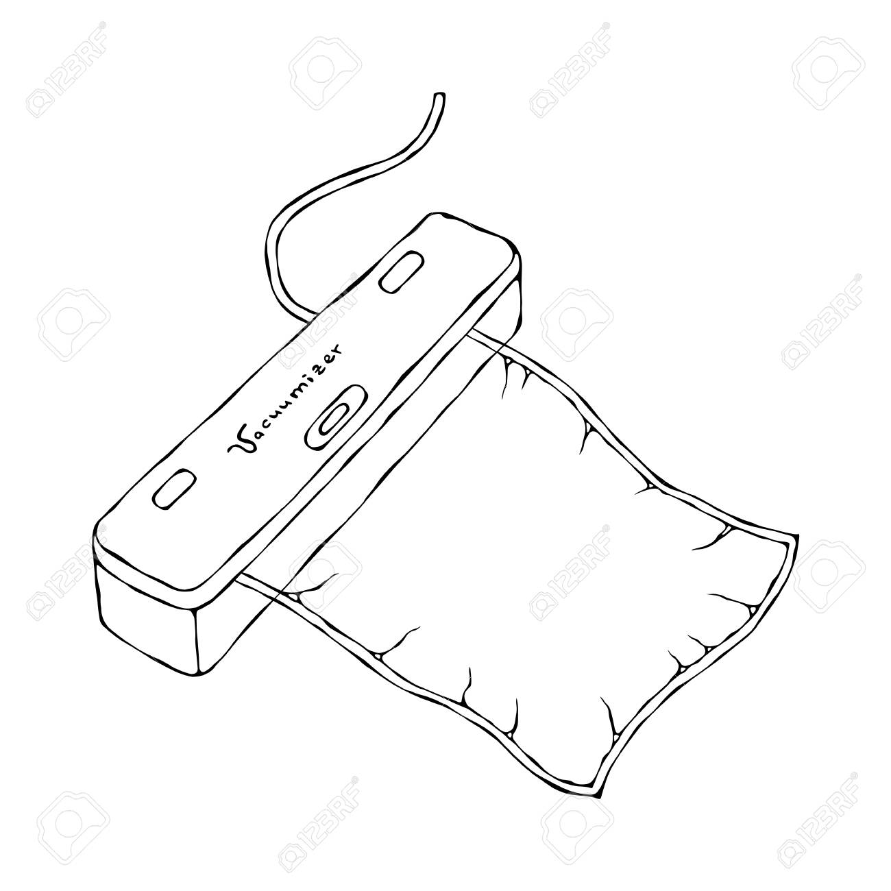 Vacuumizer Food Sealer with Vacuum Bag. What is Sous-Vide. Slow Cooking Technology. Perfect Food. Chief Cuisine Collection. EPS10 Vector. Hand Drawn Doodle Style Realistic Illustration - 126910593
