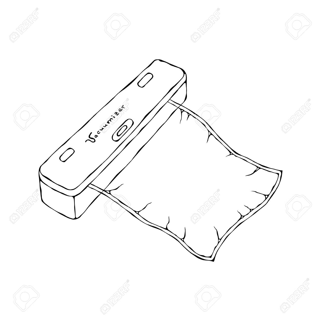 Vacuumizer Food Sealer with Vacuum Bag. What is Sous-Vide. Slow Cooking Technology. Perfect Food. Chief Cuisine Collection. EPS10 Vector. Hand Drawn Doodle Style Realistic Illustration - 126910594